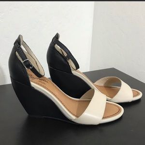 Brand new black and white ankle strap wedges